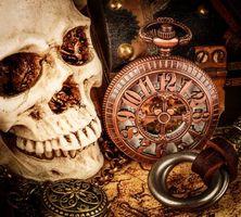 Бесплатные фото натюрморт,композиция,череп,часы,книги,рендеринг