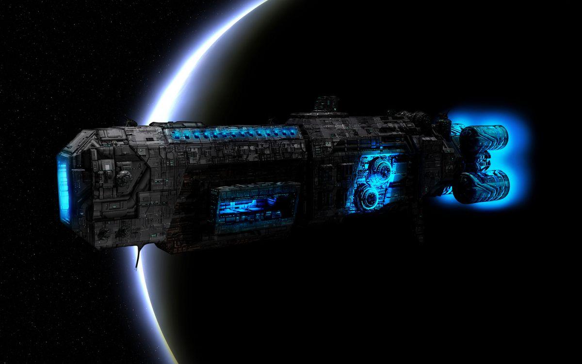 Обои космос, планета, космический корабль, полет, невесомость, вакуум картинки на телефон