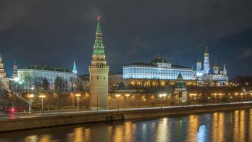 Бесплатные фото Москва,Кремль,Россия,река,ночь,фонари,город