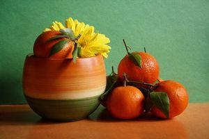 Бесплатные фото натюрморт,горшок,фрукты,апельсины,цветок