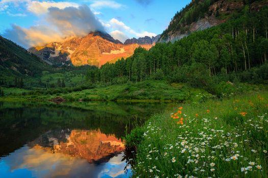 Фото бесплатно Maroon Lake, Colorado, Maroon Bells