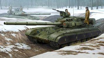 Фото бесплатно танк, окопы, танкисты, рисунок