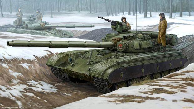 Фото бесплатно танк, окопы, танкисты