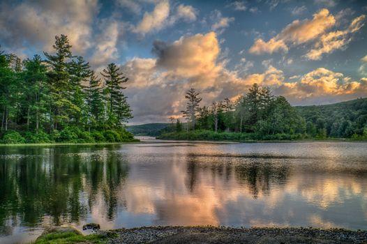 Фото бесплатно закат, водоём, деревья