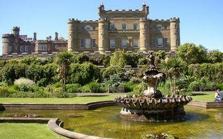 Бесплатные фото замок, ландшафтный дизайн, трава, деревья, фонтан, статуя