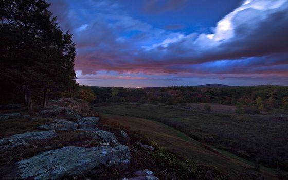 Фото бесплатно тучи, скала, деревья