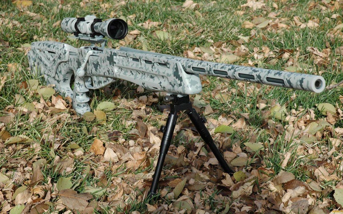 Фото бесплатно винтовка снайперская, ствол, сошки, прицел, оптика, затвор, приклад, трава, листва, оружие