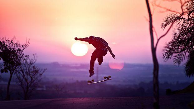 Фото бесплатно скейтбордист, дорога, солнце