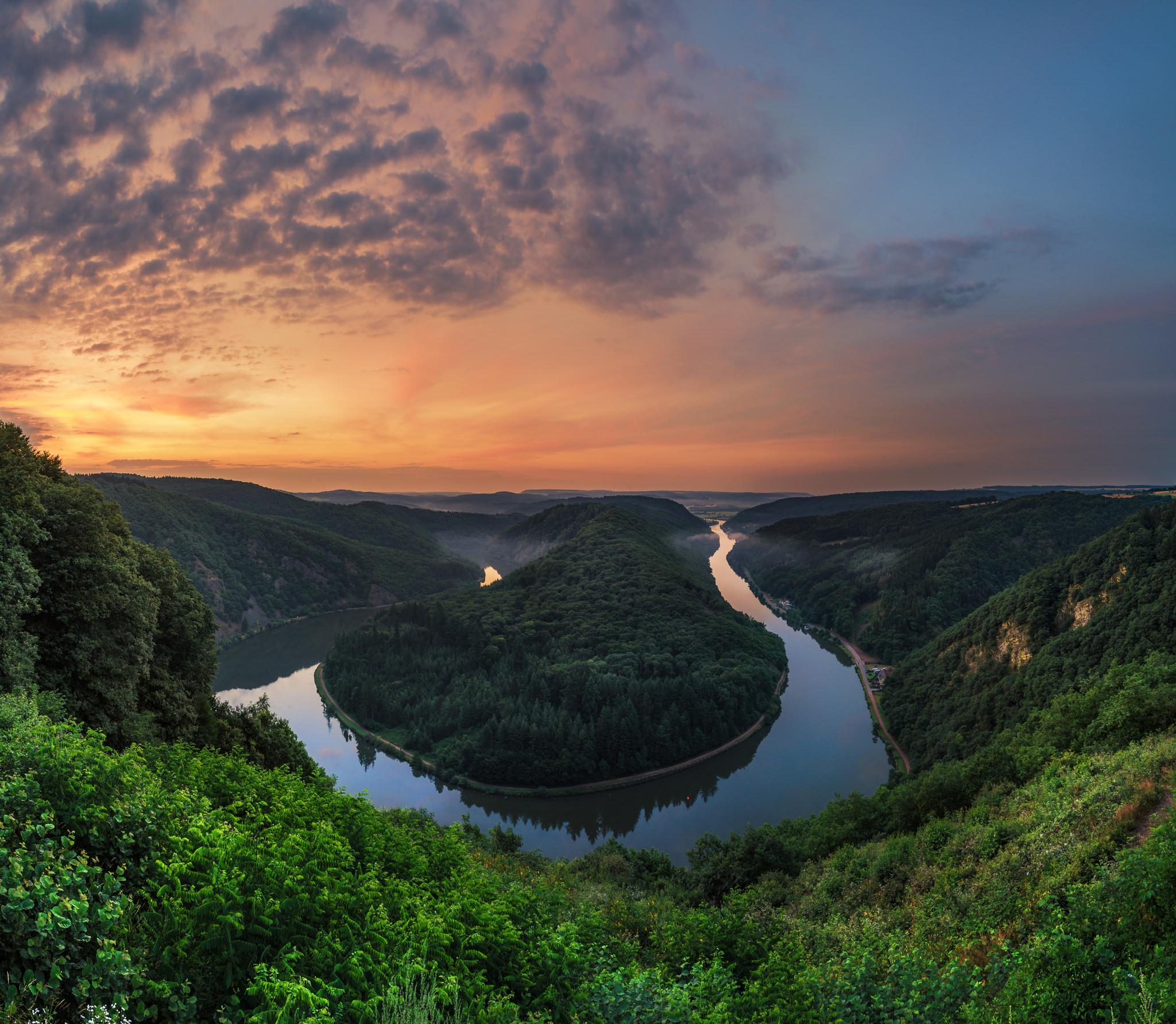 Germany, Horseshoe Bend, восход солнца