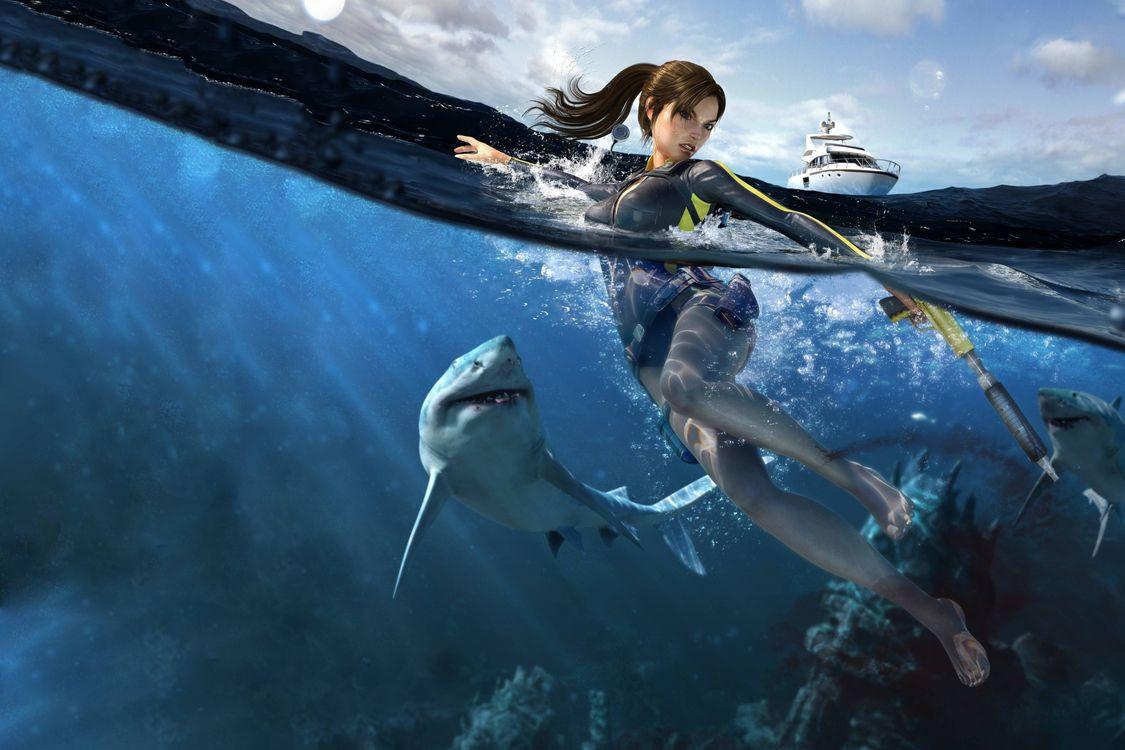 Фото бесплатно море, девушка, акулы, ситуации