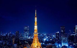Фото бесплатно ночь, башня, подсветка