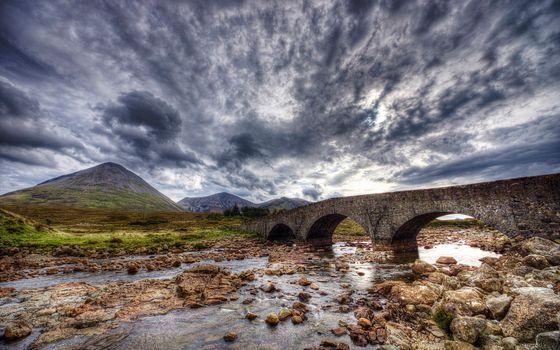 Фото бесплатно ручей, камни, мост