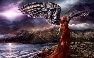Бесплатные фото девушка, крылья, платье, море, скалы, тучи