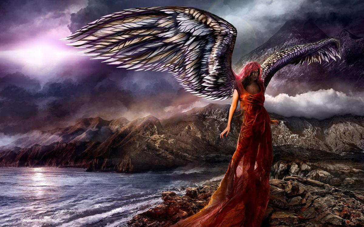 Фото бесплатно девушка, крылья, платье, море, скалы, тучи, рендеринг