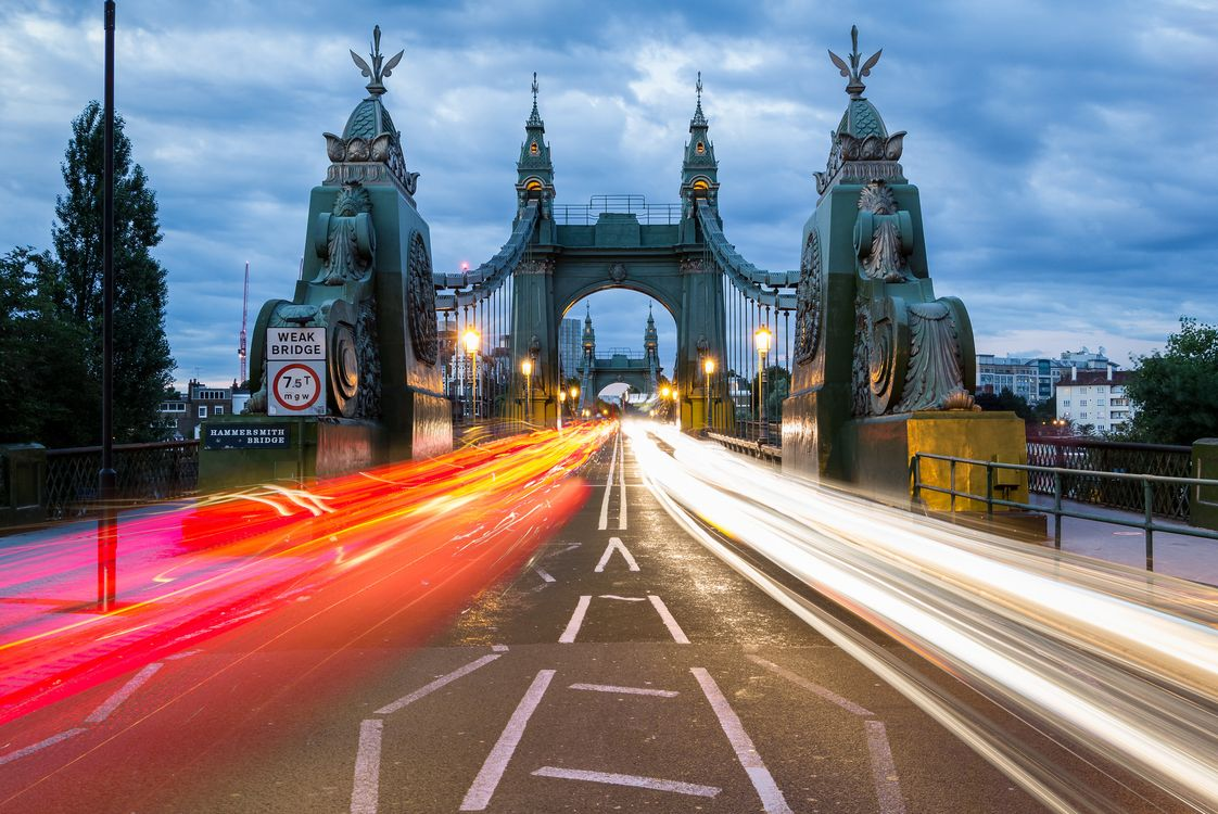 Фото бесплатно Hammersmith Bridge, England, London, River Thames, Англия, Лондон, река Темза, город