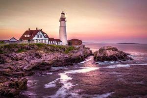 Бесплатные фото Маяк Портленд-Хэд,штат Мэн,Portland Head Light,США,море,скалы,пейзаж