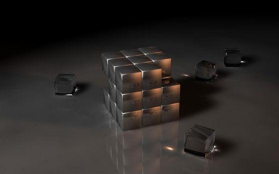 Фото бесплатно кубик Рубика, одноцветный, разобранный