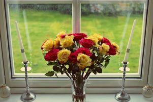 Фото бесплатно розы, свечи, цветы