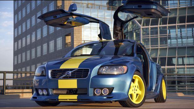 Фото бесплатно желтый, синий, диски