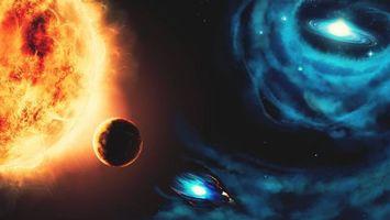 Фото бесплатно звезда, планета, галактика, три звезды, радиация