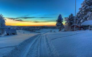 Фото бесплатно вечер, зима, дорога