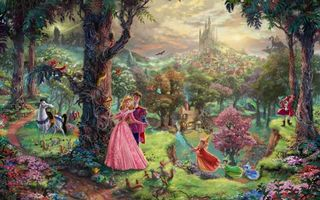 Фото бесплатно sleeping beauty, art, thomas kinkade, walt disney, animated film, painting