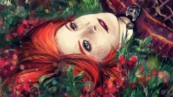 Бесплатные фото девушка,волосы,красные,глаза,губы,трава,медальон