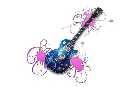 Фото бесплатно гитара, веселая, яркая, музыка, синяя, необычная