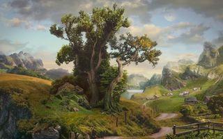 Обои горы, река, деревня, дома, заборы, дорога, дерево, камни, трава, небо, рендеринг