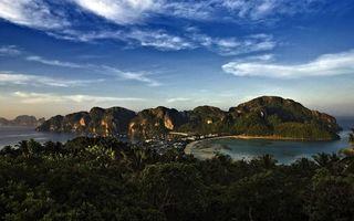 Бесплатные фото горы,остров,мох,трава,растения,деревья,небо