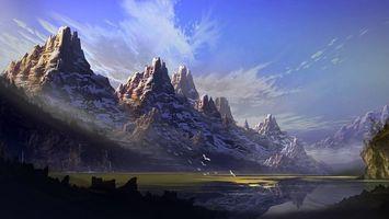 Фото бесплатно горы, птицы, облака, холод, зима, снег, вершины, море, вода, пруд, местность, природа, пейзажи