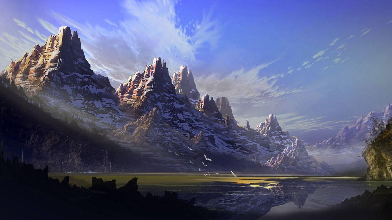 Фото бесплатно горы, птицы, облака - на рабочий стол