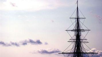Заставки корабль, мачта, море, вода, небо, высоко, разное