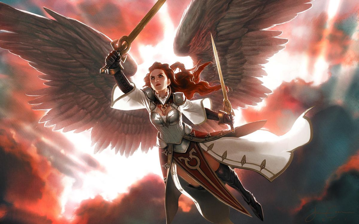 Фото бесплатно крылья, magic: the gathering, девушка - на рабочий стол