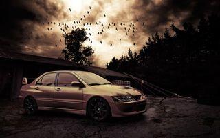 Фото бесплатно митсубиси, лансер, золотой, спойлер, диски, деревья, птицы, машины