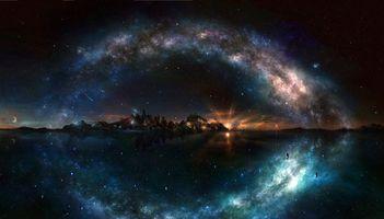 Фото бесплатно море, остров, звёзды