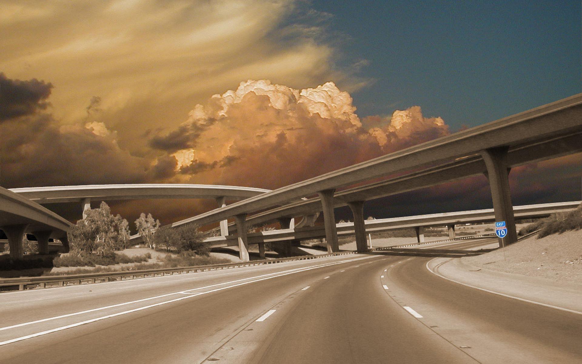 Обои мост, эстакада, тучи, небо