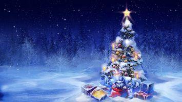 Обои новогодняя, елка, новогодние игрушки, свечи, звезда, огни, сияние, подарки, снег, снежинки, лес, ночь
