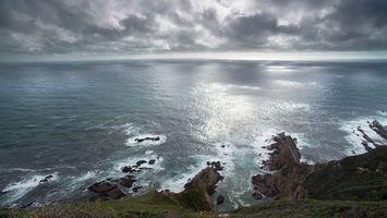 Бесплатные фото океан,горизонт,тучи,небо,берег,обрыв,скала