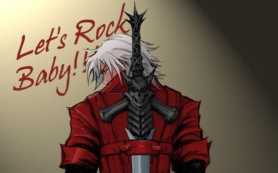 Бесплатные фото парень,куртка,красная,меч,ручка,волосы,белые,аниме