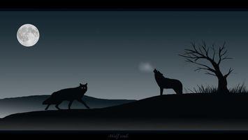 Фото бесплатно волки, воют, темно, лес, страшно, луна, дерево, аниме