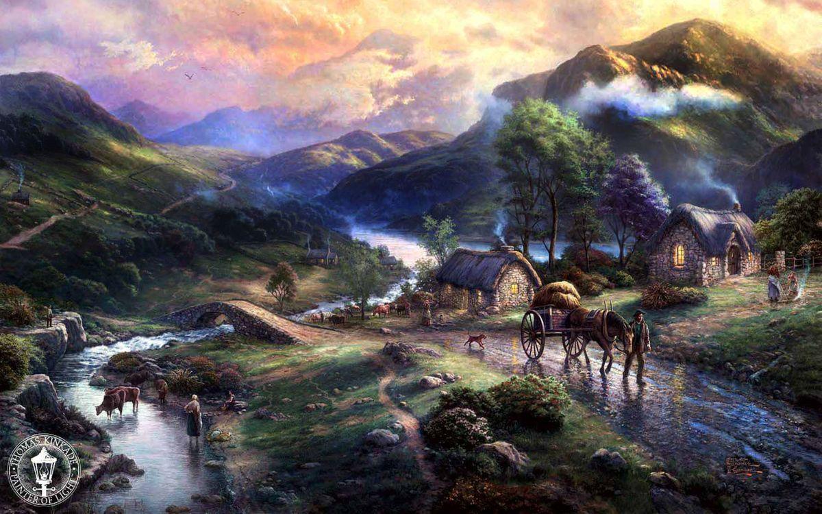 Фото бесплатно art, emeraldvalley, paintig, houses, thomas kinkade, mountains, animals, dog, horse, lake, bridge, разное