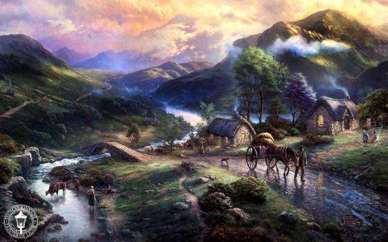 Фото бесплатно art, emeraldvalley, paintig, houses, thomas kinkade, mountains, animals, dog, horse, lake, bridge
