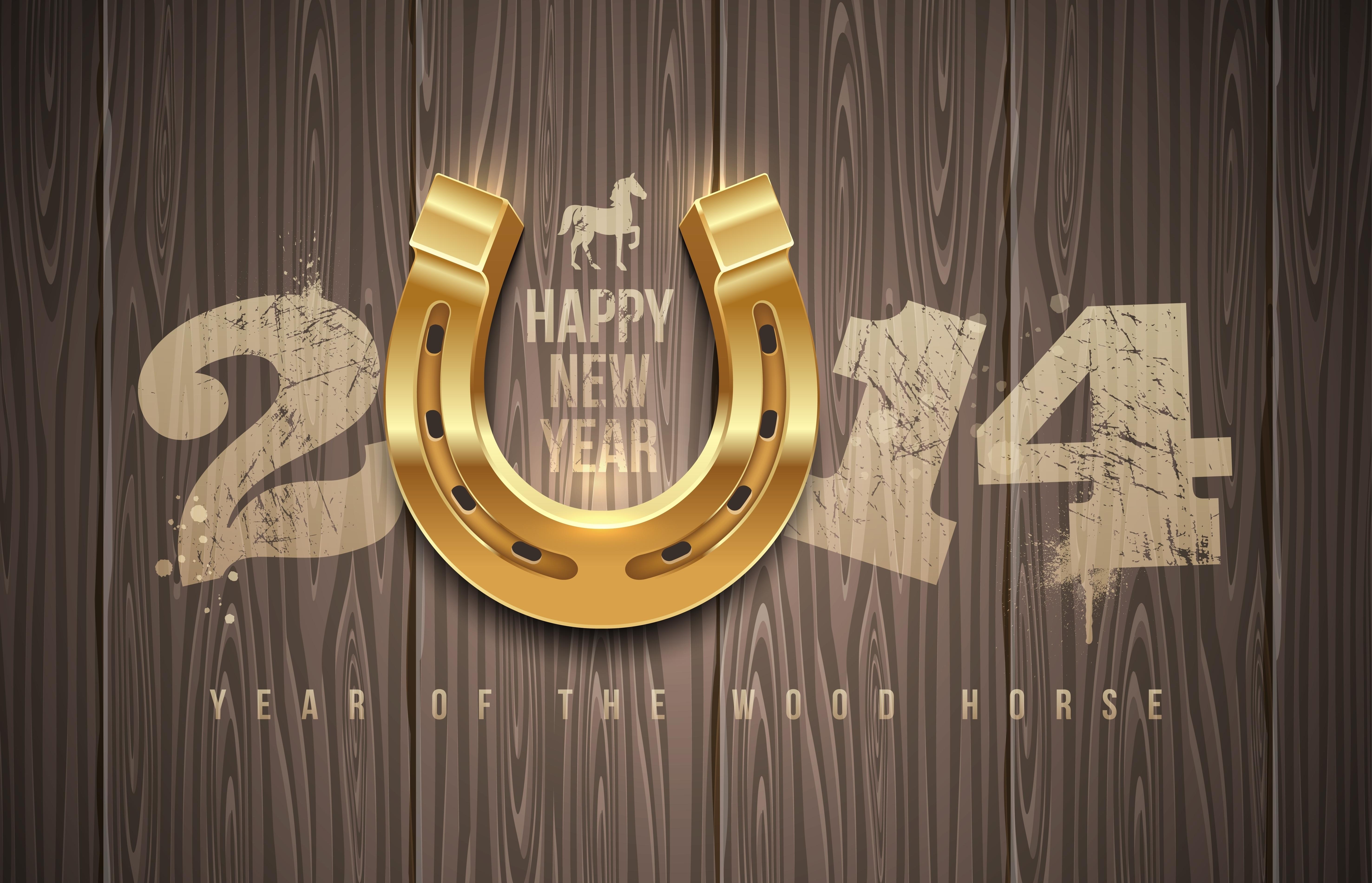 Обои happy new year, 2014, цыфры, подкова