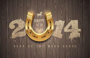 Обои happy new year, 2014, цыфры, подкова, золотая, текстура, дерева, надпись, лошадь, новый год