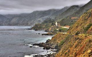 Бесплатные фото берег,море,камни,горы,дорога,облака