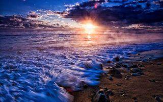 Фото бесплатно закат, туман, небо