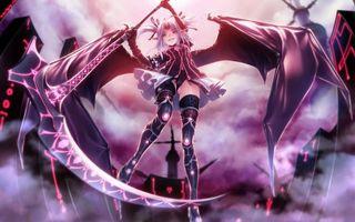 Фото бесплатно девочка, платье, крылья, меч, нож, волосы, прическа, чулки, уши, дома, аниме