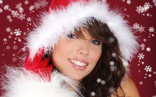 Фото бесплатно Новогодние обои, девушка, лицо