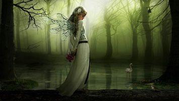 Заставки девушка, лес, арт, фея, цветы, птицы, девушки, фантастика